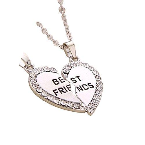 CYBERNOVA Best Friends versione con luci unacollana, forma a forma di cuore con strass e due semi collana