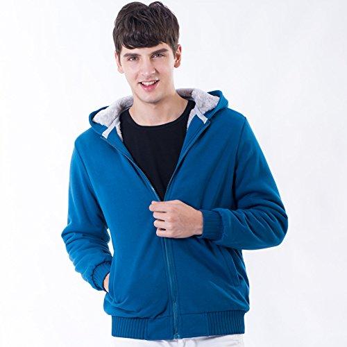 Manluodanni Homme Hiver Chaud Sweats Épaisse Veste à Capuche Doublée Polaire Manteaux Doux Hoodie Blousons Sweat-Shirts Manches Longues