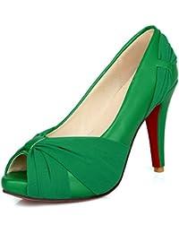 LongFengMa - Zapatos de vestir de Material Sintético para mujer negro negro 1 UK, color negro, talla 35