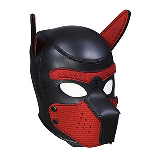 Lovearn Gepolsterte Welpenhaube aus Latex benutzerdefinierte Tier Kopf Maske Neuheit Kostüm Hund Kopf Masken Cosplay voller Kopf mit Ohren 10 Farbe (Rot) (Benutzerdefinierte Leder Kostüm)