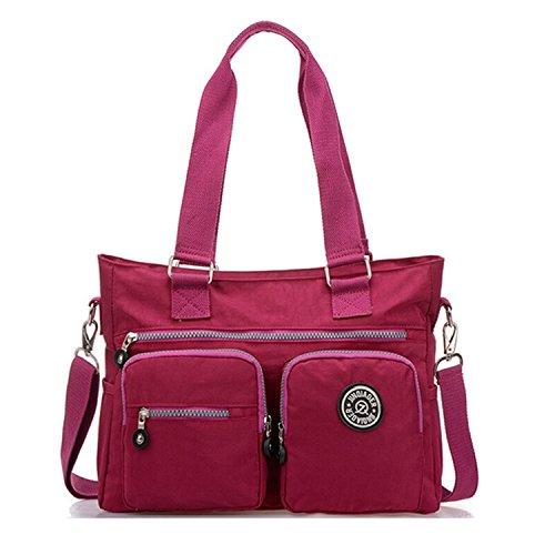 Tiny Chou Mehrzweck-Handtasche, wasserabweisendes Premium Nylon, Umhängetasche, Schultertasche für Damen rot