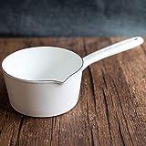 Pentola per il latte in smalto porcellanato alimenti supplementari per bambini manico singolo zuppa di latte pentola per la neve cottura della pentola forno a gas elettromagnetico @ bianco