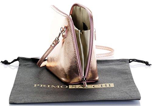 In pelle italiana, Small/Micro croce corpo borsa o borsetta borsa a tracolla.Include una custodia protettiva di marca. Oro rosa
