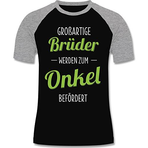 Shirtracer Bruder & Onkel - Großartige Brüder Werden Zum Onkel Befördert - Herren Baseball Shirt Schwarz/Grau Meliert