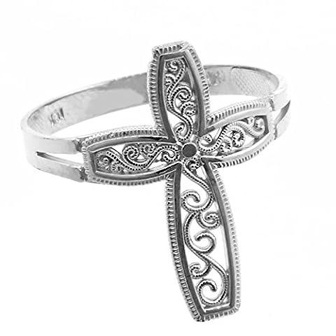 Little Treasures - 10ct White Gold Filigree Design Cross Ring
