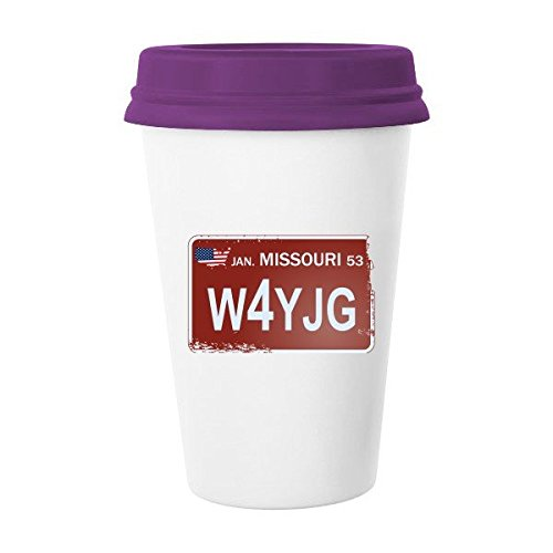 DIYthinker Usa American Car License Plate Nummer Missouri Kreative Illustration Muster Klassischer Becher Weiße Keramik Keramik-Cup Milchkaffeetasse 35 Mehrfarbig (Missouri License Plate)