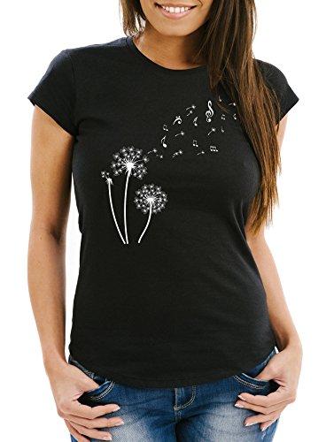 Neverless Damen T-Shirt Pusteblume Musiknoten Noten Musik Dandelion Slim Fit tailliert Baumwolle schwarz L - Damen-musik-t-shirts