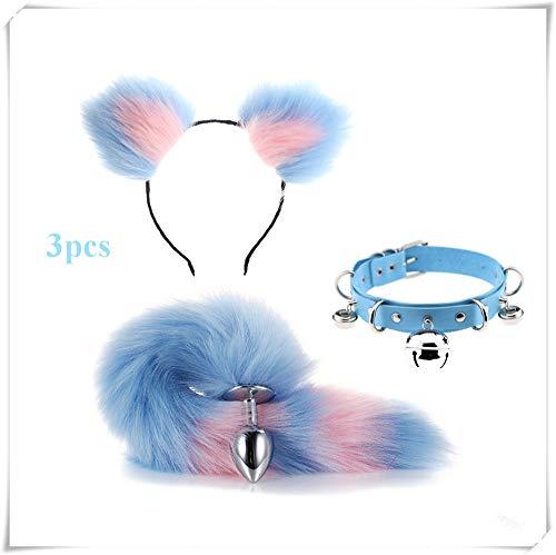 Machen Kostüm Katzenohren - ieyol Haarband mit Katzenohren, Halsband, Schwanz, Kostüm-Accessoires, Blau/Pink