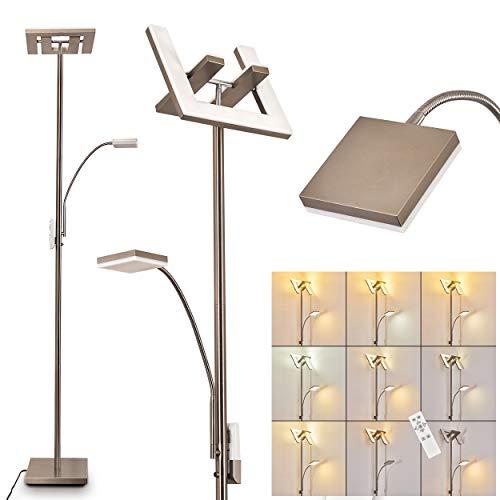 LED Stehlampe Laferie aus Metall in Nickel-matt, dimmbare Stehleuchte mit Lesearm, 25 Watt (insgesamt), 1440 Lumen (insgesamt), Lichtfarbe: 2700-5000 Kelvin, verstellbare Bodenlampe m. Fernbedienung
