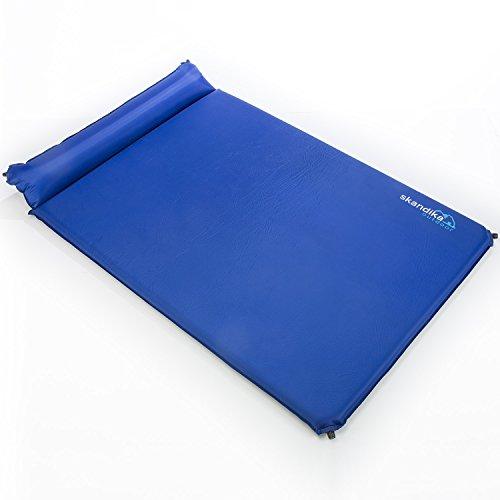skandika Vegas Selbstaufblasende Doppel-isomatte Mit Kissen, blau, XL -