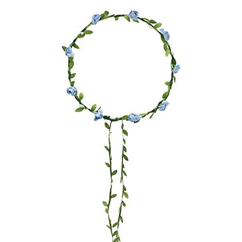 Gemini_Mall Boho Lady Girls Floral Flower Festival Wedding Garland Forehead Hair Headband Blue