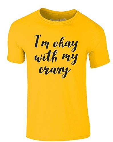 Brand88 - I'm Okay With My Crazy, Erwachsene Gedrucktes T-Shirt Gänseblümchen-Gelb/Schwarz