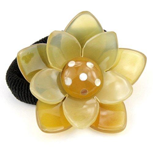 Chou chou Elastique à cheveux en véritable corne - Fleur de Lotus incrustée de nacre