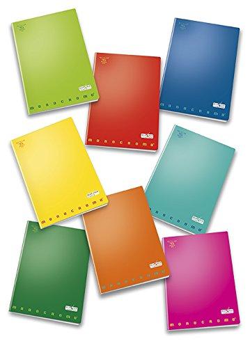 Pigna monocromo 02217800q, quaderno formato a4, rigatura 0q, quadretti 5 mm con margine per 2° e 3° elementare, carta 100g/mq, pacco da 10 pezzi