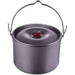 QWERASD 5L Camping Pots De Cuisine avec Couvercle en Plein Air Ustensiles De Cuisine Pique-Nique Suspendus en Alliage D'aluminium Pan pour Poêle