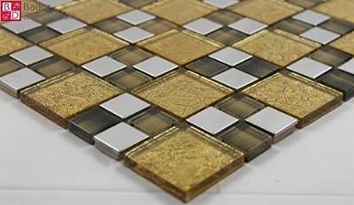 1 Matte Glasmosaik Mosaikfliesen Glas Edelstahl Gold Braun Silber 8mm 30x30 neu von Bador bei TapetenShop