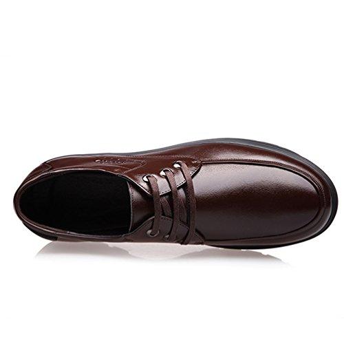 Haut de Gamme Homme Loisirs Chaussure en Cuir Souple? Basse Bout Rond Chaussure à Lacet Derby Brun