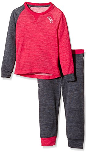 Odlo Kinder Funktionsunterwäsche Mädchen Set Revolution TW Warm Kids Bekleidung, Rose Red Grey Melange, 92 | 07613273869088
