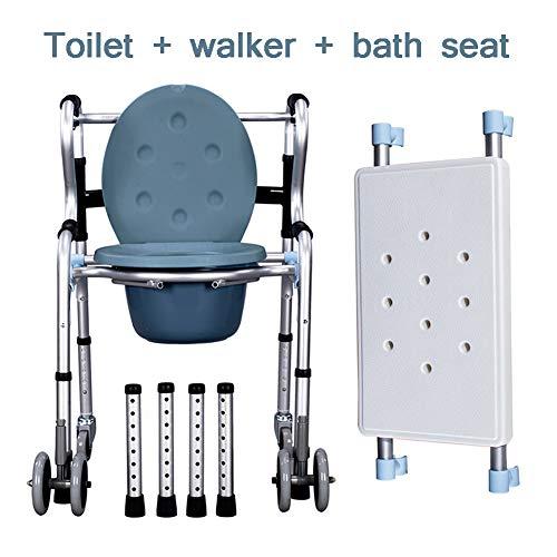 SUN RNPP Bettkommoden Toilettenstühle 3-in-1-stahllegierung aus Stahl mit flaschenzug,badewanne,gehhilfe,wc-schüssel