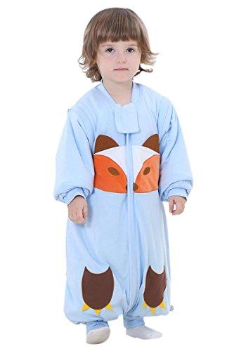 Preisvergleich Produktbild Happy Cherry Unisex Baby Schlafsack mit abnehmbare Ärmel Kind Baumwolle Overall Winter Pyjamas Mädchen Jungen Cartoon Fuchs Nachtwäsche Einteiler Schlafanzug für Kinderparty Asiatische Größe L - Blau