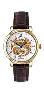 Reloj Rotary GS90506/06 automático para hombre, correa de cuero color marrón de Rotary