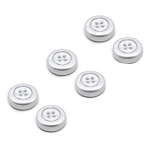 Veewon 6pcs senza fili Lampada LED da incasso con 4LED a batteria LED Touch lampada-Fare clic Push On Off Luce per Armadio da cucina garage