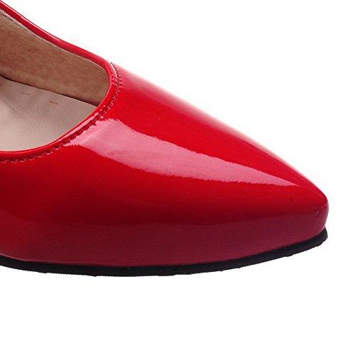 Voguezone009 Hebilla De Las Mujeres Zapatos De Punta Cerrada Punta Estrecha Tacón Medio Shimmer Puro Rojo Ballet Pisos