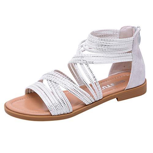 Vovotrade Damen retro große Größe Kreuzgürtel lässig flachen Boden Tasche römische Schuhe Sandalen Schwarz,Weiß 35-42 Satin-vintage-heels
