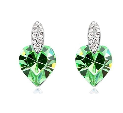 Sojewe Damen Herz Bolzen Ohrring Grün Swarovski Elements Kristall Weiß Vergoldet Mode Accessoires Geschenk für Party - Kristall-herz-bolzen-ohrringe