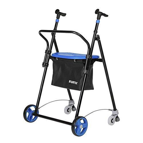 Andador para Ancianos, de acero plegable, con Frenos traseros, con Cesta Asiento y Respaldo, color Azul