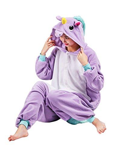 Wamvp Einhorn Kostüm Animal Pyjama Overall Kostüm Sleepsuit Cosplay Sleepwear für Erwachsene Lila