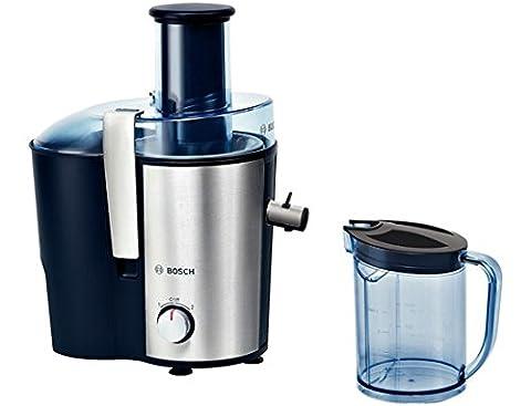 Bosch MES3500 Entsafter VitaJuice 3 700 W, XL-Einfüllschacht, Edelstahl-Microfilter-Sieb, Saftauslauf und Gehäuse aus Edelstahl, Ausgießer mit DripStop, blau /