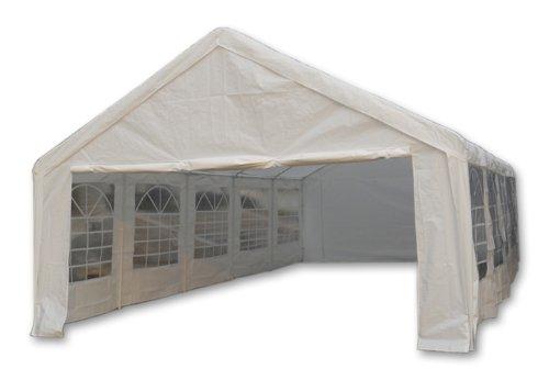 Nexos Hochwertiges Festzelt Partyzelt Pavillon 5x10 m weiß mit Seitenteilen für Garten Terrasse Feier Markt als Unterstand Plane wasserdicht PE Dach 180 g/m² Stahlrohre