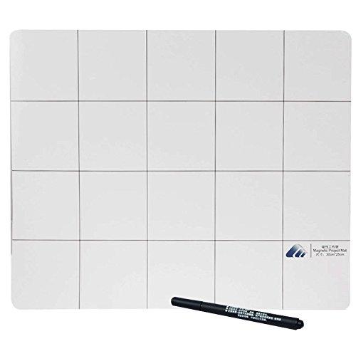 Magnetische Matte / Arbeitsmatte mit Raster Unterlage beschreibbar / mit Marker-Stift / Größe: 30cm x 25cm (Marker-matten)