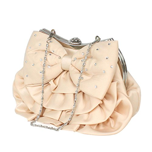 Party Silk Dinner Umhängetasche Chain Dame Party Bowknot Pink Tasche apUxSSqAw