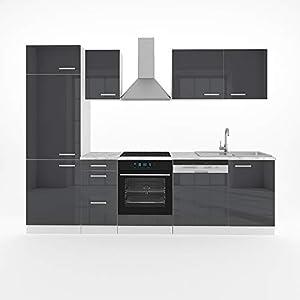 Vicco Küche Optima 270 cm Küchenzeile Küchenblock Einbauküche Komplettküche - Frei Kombinierbar (Anthrazit Hochglanz)
