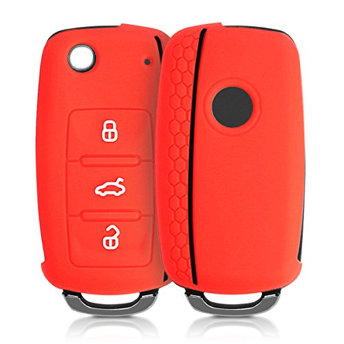 Hülle für VW Skoda Seat 3-Tasten Autoschlüssel - kwmobile Silikon Schlüssel Schutzhülle in Rot Schwarz - Etui Schlüsselhülle Cover Auto Zündschlüssel