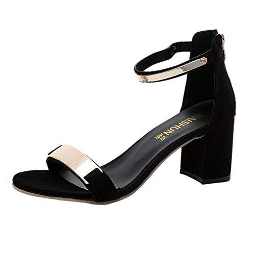 Donne Open Toe Sandali di Spessore Tacco di Corte Scarpe Gladiatore Caviglia Cinturino Tacchi Alti Partito Estate Vestito Scarpe