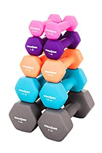 Set of 2 Iron Gym Dumbbells with Colour Neoprene Grip Coating - Sear away fat, tone, improve fitness and build powerful all-over muscle with cardiovascular, strength and flexibility training at home - Choose from 1kg 2kg 3kg 5kg 10kg Sets Exercise Weights (1kg)
