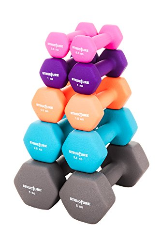 Set of 2 Iron Gym Dumbbells with Colour Neoprene Grip Coating - Sear away fat, tone, improve fitness and build powerful all-over muscle with cardiovascular, strength and flexibility training at home - Choose from 1kg 2kg 3kg 5kg 10kg Sets Exercise Weights (10kg)
