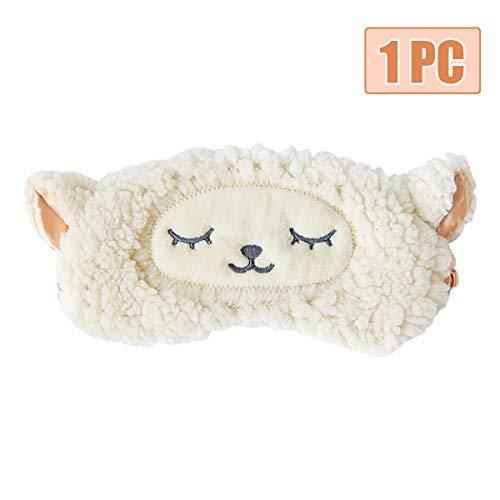 H HOMEWINS Schlafmaske 3D Süße Atmungsaktive Augenmaske aus 100{f0b9fd07fccae1037bfc25c5089ddc457aa54a13a4ed87847a9dd0ff02276cb5} Naturseide & Plüsch Verstellbares Gummiband Schlafbrille Nachtmaske für Schlafen Reisen Party (Weiß Schafe)