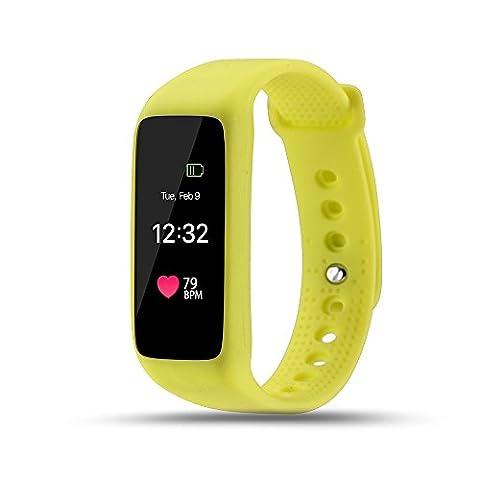 Lpan écran tactile couleur Smart Bracelet de mesure de la fréquence cardiaque montre rappel Sports podomètre Surveillance du sommeil, jaune