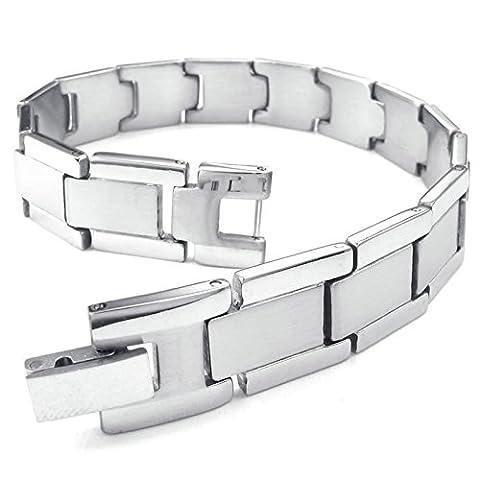 Adisaer Womens Mens Stainless Steel Bracelets Silver 8.5 IN Length Bangle Bracelets