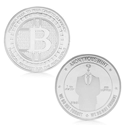 AmarzkSilber überzogene anonyme Mint Bitcoin Gedenkmünze Sammlung Andenken Geschenk (Silber) -