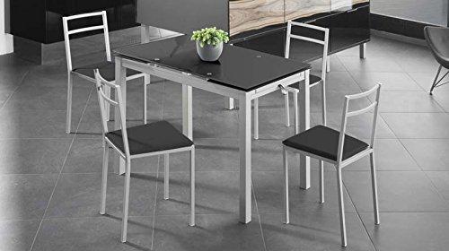 Mesa extensible de cristal translúcido color negro y estructura gris par comedor o cocina