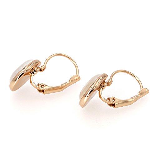 Yoursfs Vintage Damen Ohrclips Rote Oval Opal Klipp Ohrringe mit 18K Rosegold Vergoldeteund Groß Perle für Damen Frauen Mädchen - 4