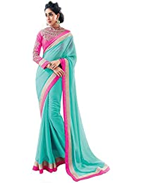 Sarees New Collection 2017 (Sareeka Sarees Women's Sky Blue Chiffon Saree For Women With Blouse Piece)