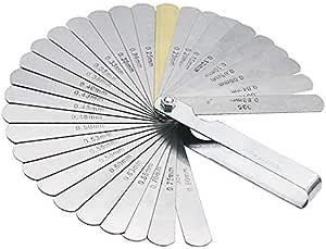 jauges de mesure et dinspection outils de bricolage HHTC Jauges d/épaisseur Instruments de r/éf/érence 0.127-0.508mm jauge sonde for jauge de clapet simple en acier inoxydable outil Feeler Gauge