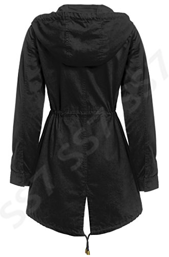 SS7 Femmes Toile Coton MAC femmes Trench-Coat, Noir, Kaki, Taille 36-38-40-42 16 Noir