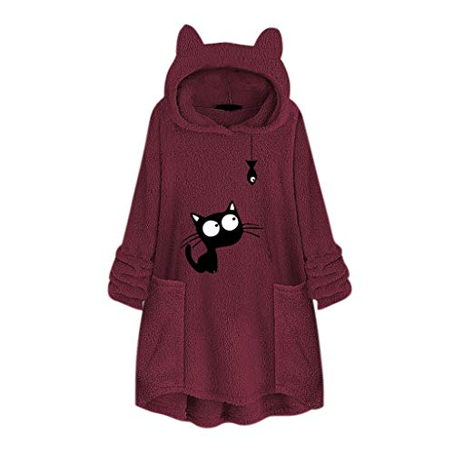 GOKOMO Frauen-Vlies-Stickerei-Katzen-Ohr Plus Größen-Hoodie-Taschen-Oberseiten-Strickjacke-Bluse(Wein-B,XXXXX-Large) -